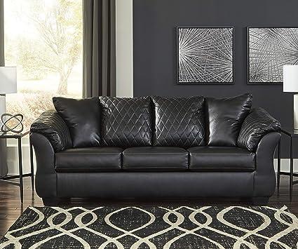 Amazon.com: Arlon Contemporary Black Faux Leather Sofa ...