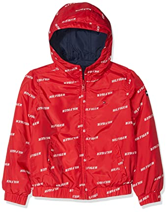 0a29c9ac Tommy Hilfiger Boy's Essential Reversible Hooded Jacket, Red (Lollipop  633), 48 (