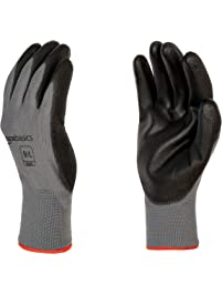 AmazonBasics Polyurethane Coated Gloves, Polyester Liner Fiber, Touch Screen, Grey, Size 9 (L), 12-Pair