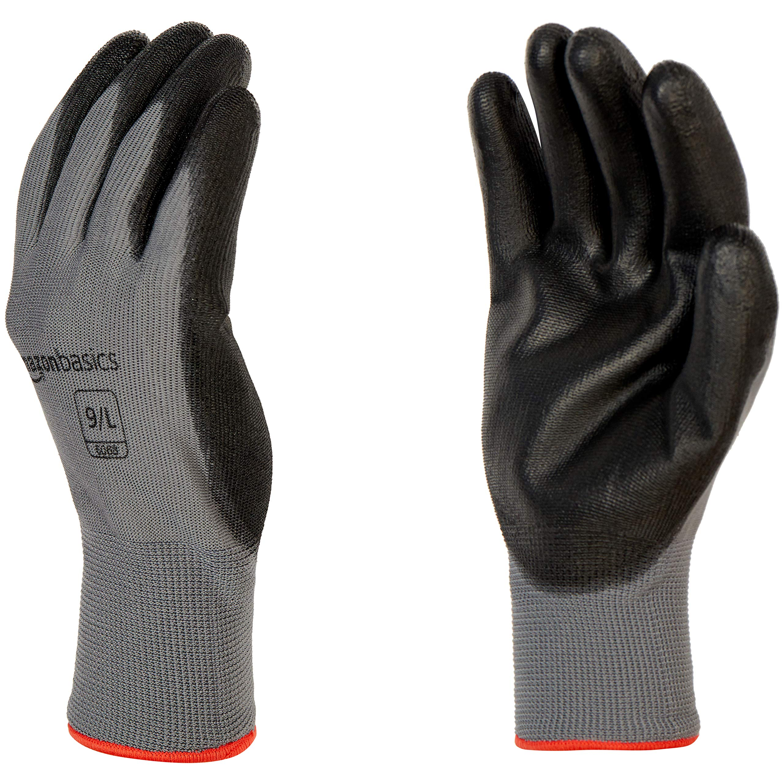 Amazon Basics Polyurethane Coated Work Gloves, Polyester Liner Fiber, Touch Screen, Grey, Size 9, L, 12-Pair