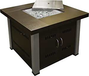 Hiland GS-F-PC-SS 40,000 BT Propane Fire Pit, Large, Two Toned Hammered Bronze