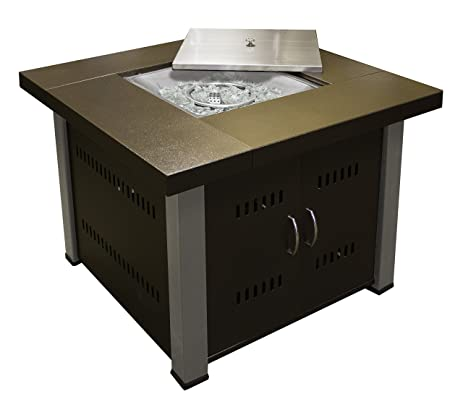 Great AZ Patio Heaters Fire Pit, Propane In Two Tone Hammered Bronze And  Stainless Steel