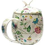 ICON Fine Bone China Floral Mug with Lid, Blue, 15 oz