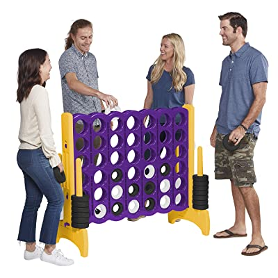 ECR4Kids Jumbo 4-to-Score Giant Game Set, Backyard Games for Kids, Indoor/Outdoor Connect-All-4, Adult and Family Fun Game, 43 Inches Tall, Purple and Gold (Game Only): Toys & Games