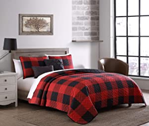 Addison Home Buffalo Plaid 5pc Red and Black Quilt Set with Throw Pillows, Queen