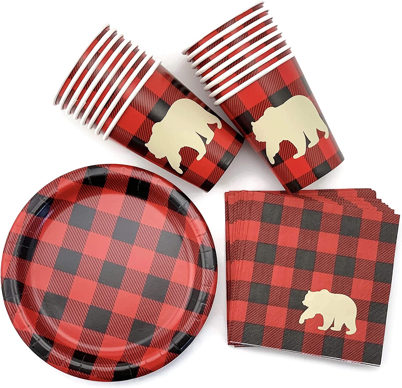 Buffalo Plaid Bear Baby Shower Lumberjack Birthday Plates Napkins Cups (16 Set)