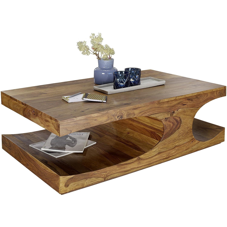 FineBuy Couchtisch Massiv-Holz Sheesham 118 cm breit Wohnzimmer-Tisch Design dunkel-braun Landhaus-Stil Beistelltisch Natur-Produkt Wohnzimmermöbel Unikat modern Massivholzmöbel Echtholz rechteckig