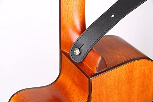 Black White Mechanical Gears on Orange Dots Guitar Strap