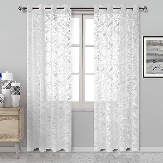 Amazon.com: DWCN White Lace Sheer Curtains - Faux Linen Semi Voile