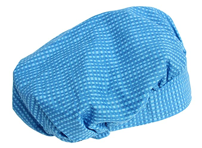 05724979c9c Image Unavailable. Image not available for. Color  Hiphopville Banded  Bouffant Blue Gingham Squares Scrub Cap ...