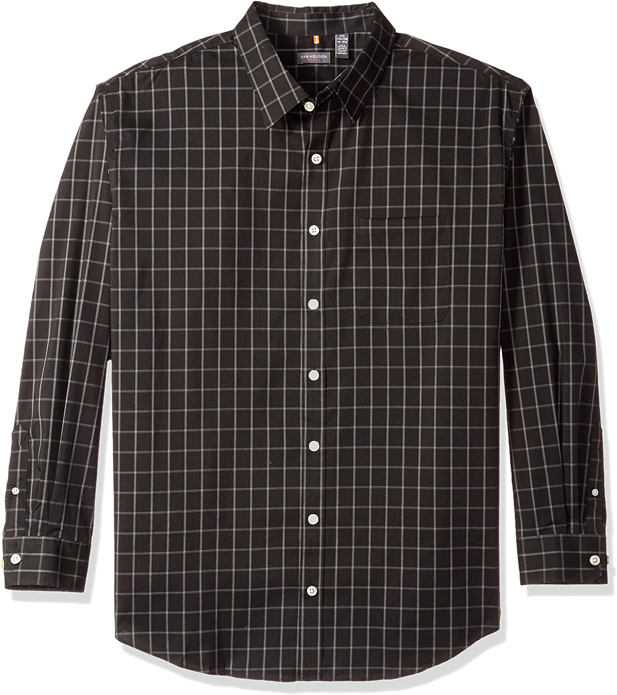 Van Heusen Men's Big and Tall Traveler Stretch Long Sleeve Button Down Non Iron Shirt: Clothing