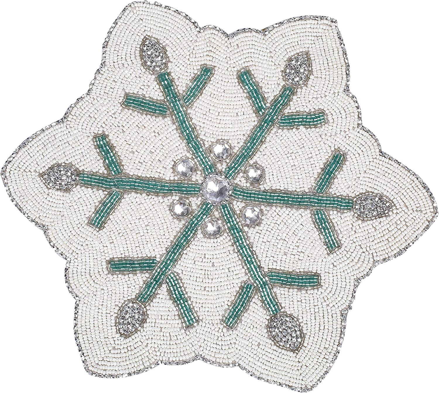 Amazon Com Handmade Round Beaded Snowflake Placemat For Dining Table Measure 13 Inches For Gathering Occasional Decoration And Family Parties Celebrations Multi Color Kitchen Dining