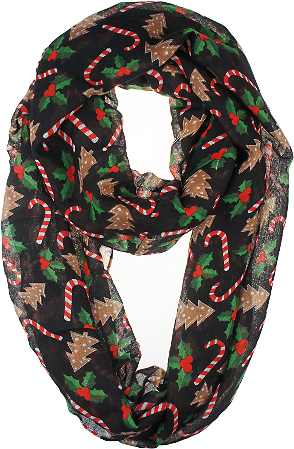 VIVIAN   VINCENT Soft Light Elegant Merry Christmas Sheer Infinity Scarf