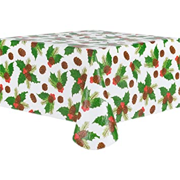 Christmas Vinyl Tablecloth, Flannel Backed Vinyl Tablecloths For Holiday  Seasons, Rectangle Table, Multiple
