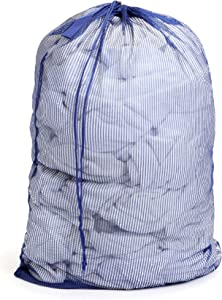 Smart Design Mesh Laundry Bag w/ Handle & Push Lock Drawstring - VentilAir Mesh Material - for Clothes & Laundry - Home Organization (Holds 3 Loads) (36 x 24 Inch) [Blue]