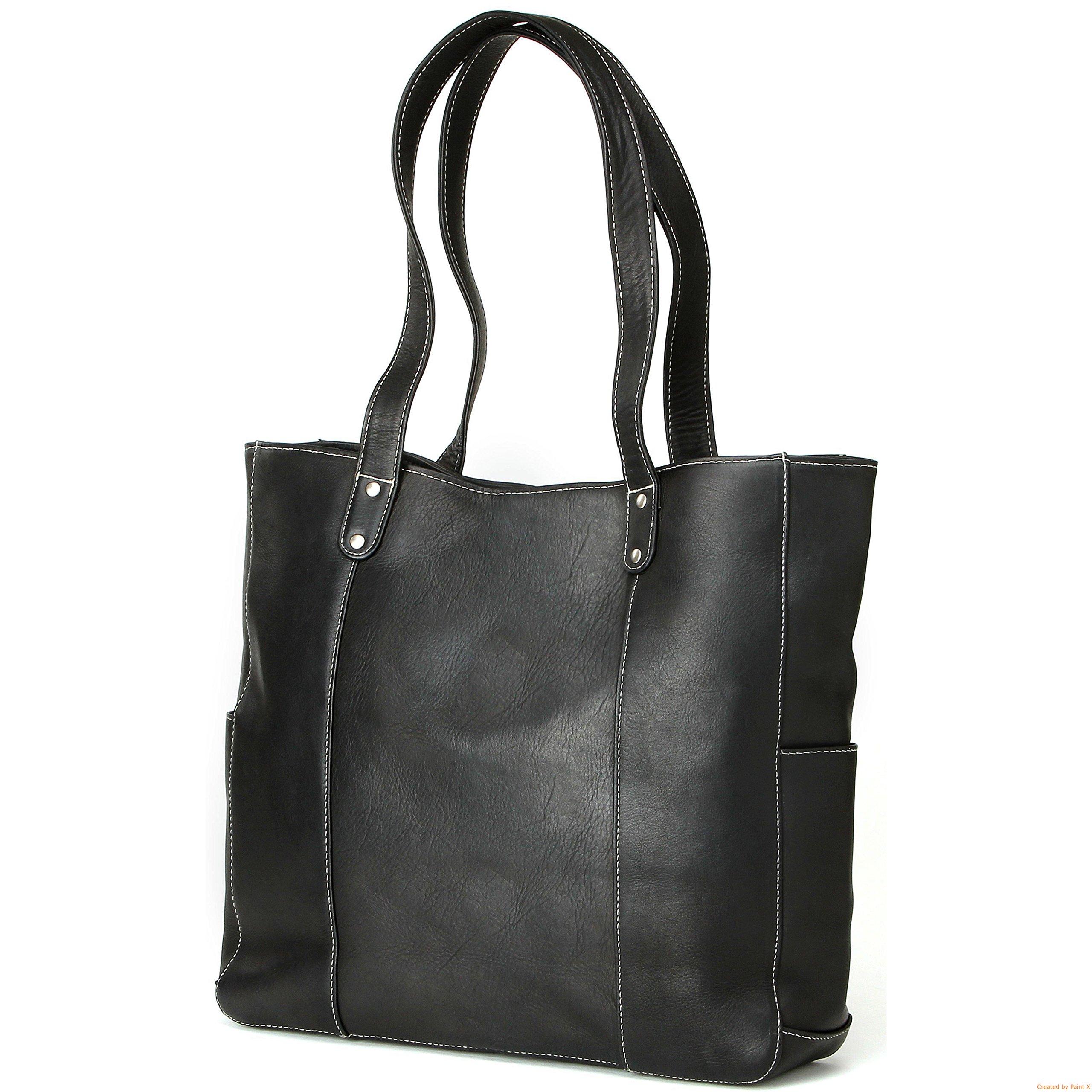 Black Double Strap Rivet Tote Bag, Magnet Closure, Leather Material