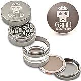 GRHD 2-in-1 Compact or Large 5 Piece Herb Grinder, BEST Aluminum Weed Grinder, Gun Metal Grey with Pollen Screen, Keif Scraper & Travel Bag