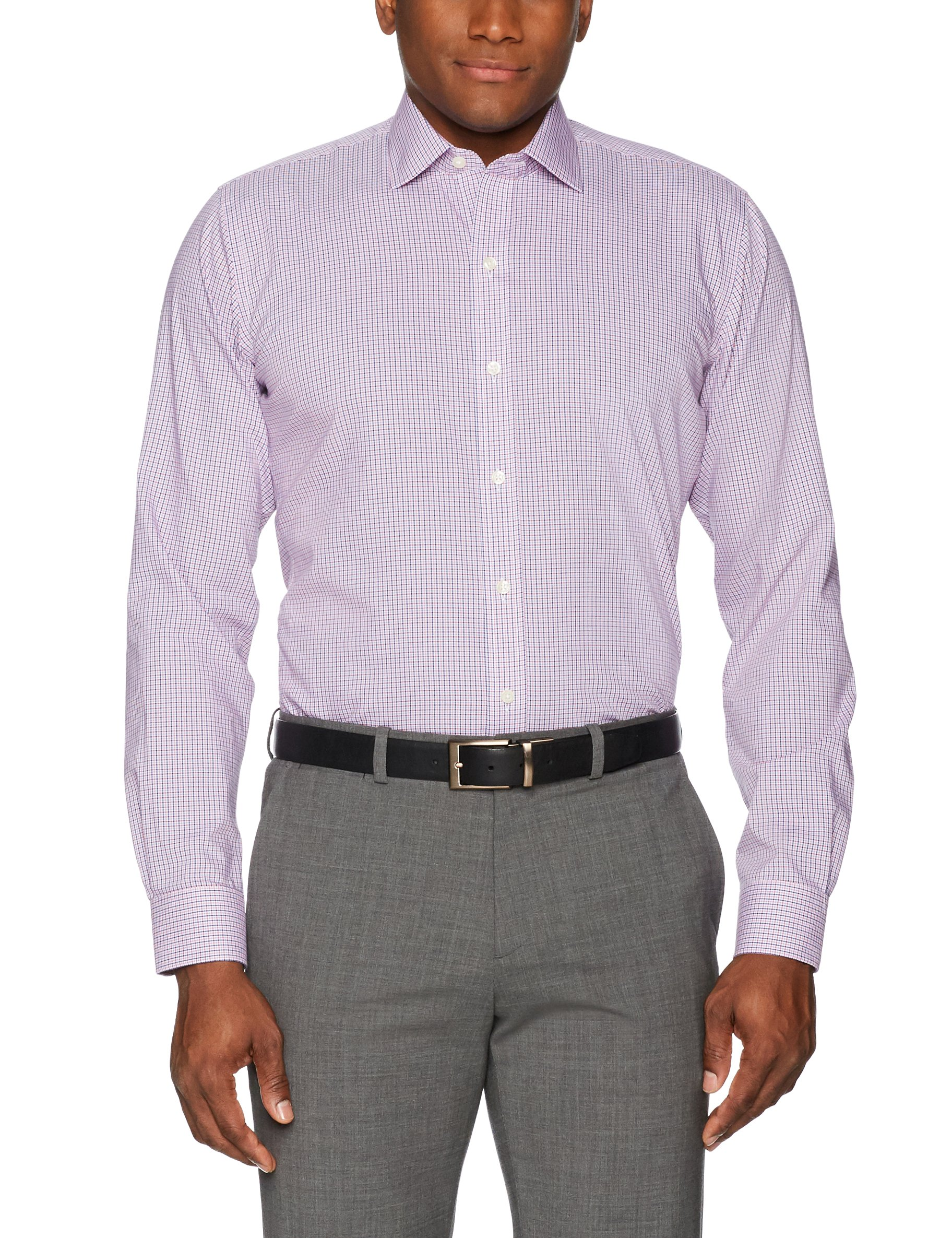 Buttoned Down Men's Slim Fit Spread-Collar Non-Iron Dress Shirt, Berry/Red/Navy Tatersol, 17.5'' Neck 37'' Sleeve by Buttoned Down (Image #3)