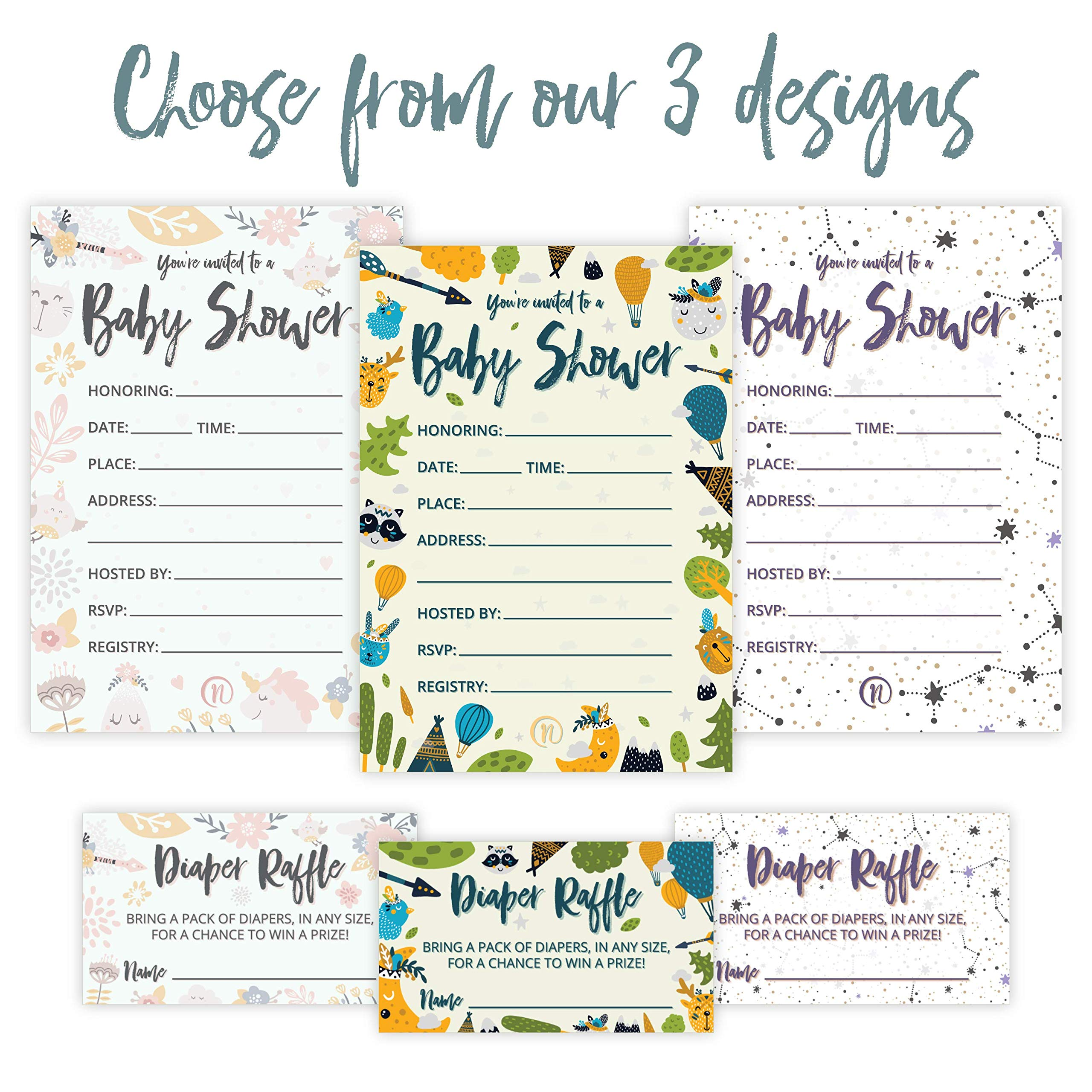 Baby Shower Invitation Cards with Diaper Raffle Tickets for Boy and Girl - Woodland Forest Animals - Set of 25 Party Invites - by Nalalife by Nalalife (Image #5)
