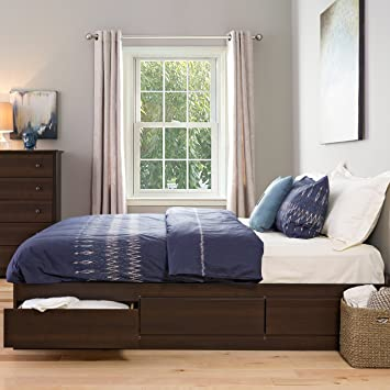 espresso king mates platform storage bed with 6 drawers - King Bed Frame With Storage