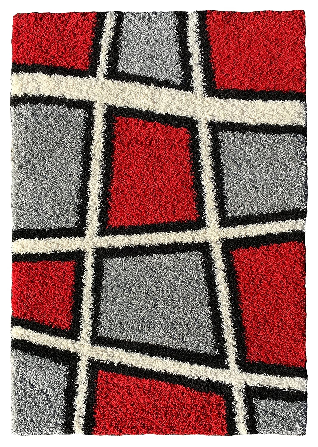 amazoncom soft shag area rug 3x5 geometric tile design red ivory black grey shaggy rug area rugs for living room bedroom kitchen decorative