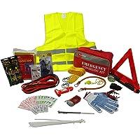 Koehler Enterprises KER5001 Kit de seguridad de emergencia para vehículo de asistencia en carretera (con cables de arranque, cuerda de remolque, triángulo de advertencia reflectante), 75 piezas, 1 paquete, 75-piece Kit, Verde, XXX-Large