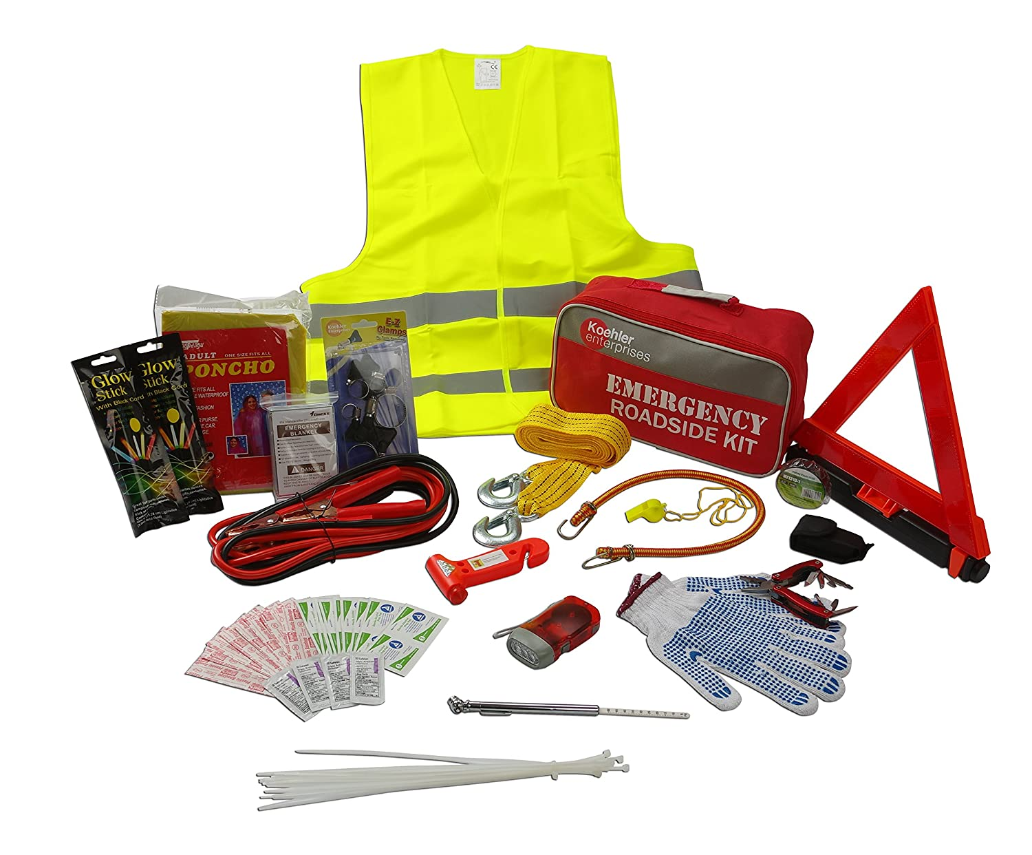 Koehler Enterprises KER5001 Roadside Assistance Vehicle Emergency Safety Kit (with Jumper Cables, Tow Rope, Reflective Warning Triangle), 75 Piece, 1 Pack
