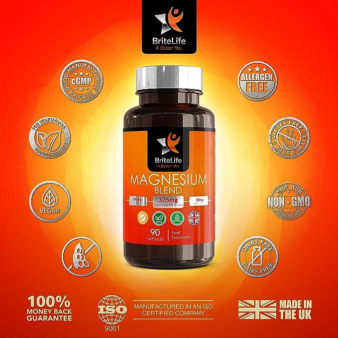 Fórmula de Magnesio - 375 mg de Britelife | Con Citrato, Glicinato y Malato de Magnesio, Vitamina B6 y Zinc | ALTA BIODISPONIBILIDAD | 90 capsulas ...