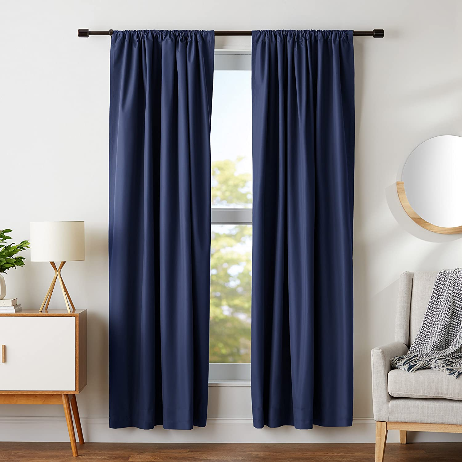 CDM product AmazonBasics Room Darkening Thermal Insulating Blackout Curtain Set with Tie Backs - 52 x 84 Inches, Navy (2 Panels) big image