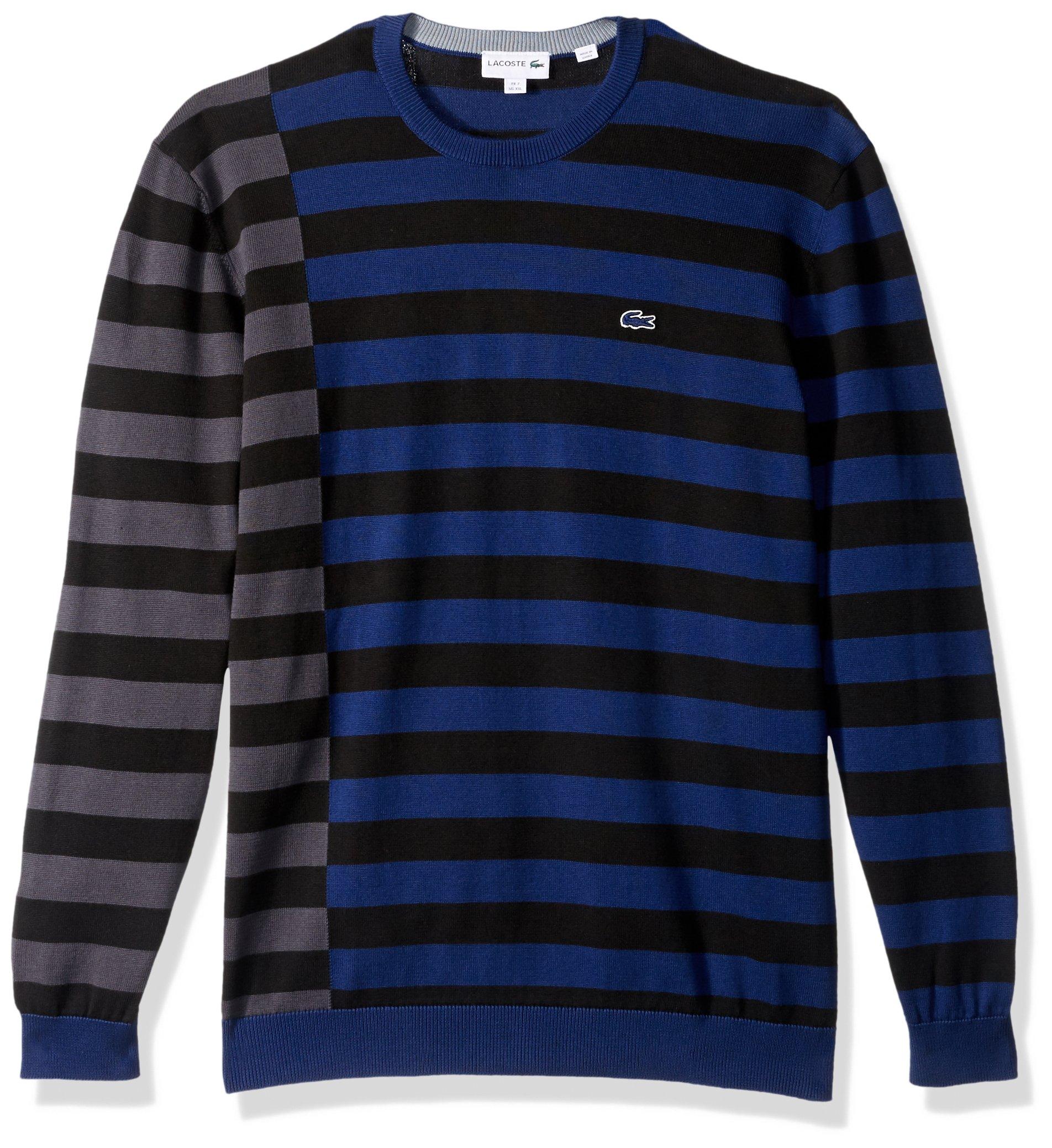 Lacoste Men's Broken Striped Cotton Sweater, Methylene/Black/Graphite/Mill Blue, 5