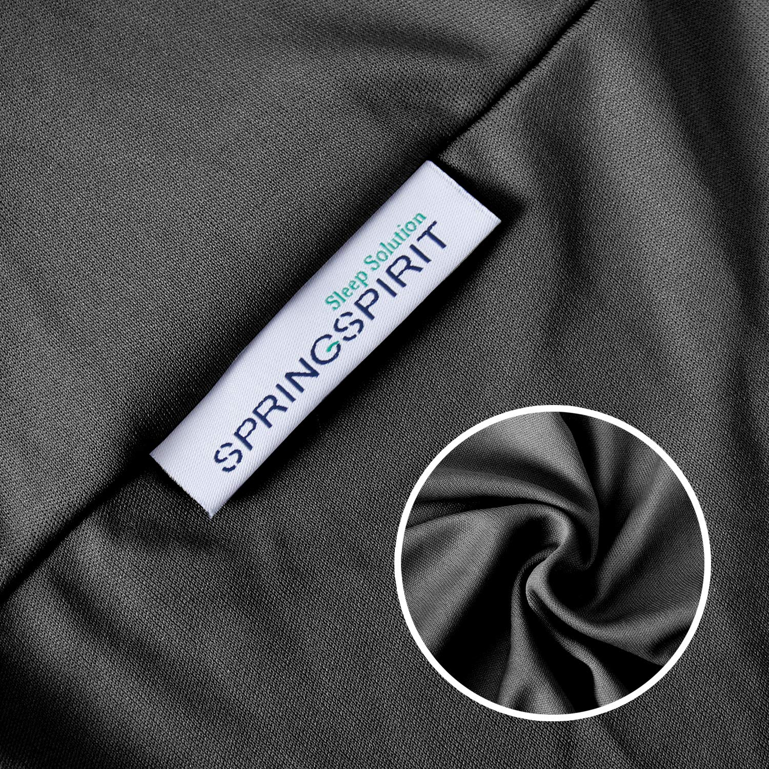 Wrinkle /& Fading Resistant Black. Dustproof Smooth and Elastic Woven Material Wrap Around 4 Sides of The Box Spring SPRINGSPIRIT Box Spring Cover Queen Size Washable