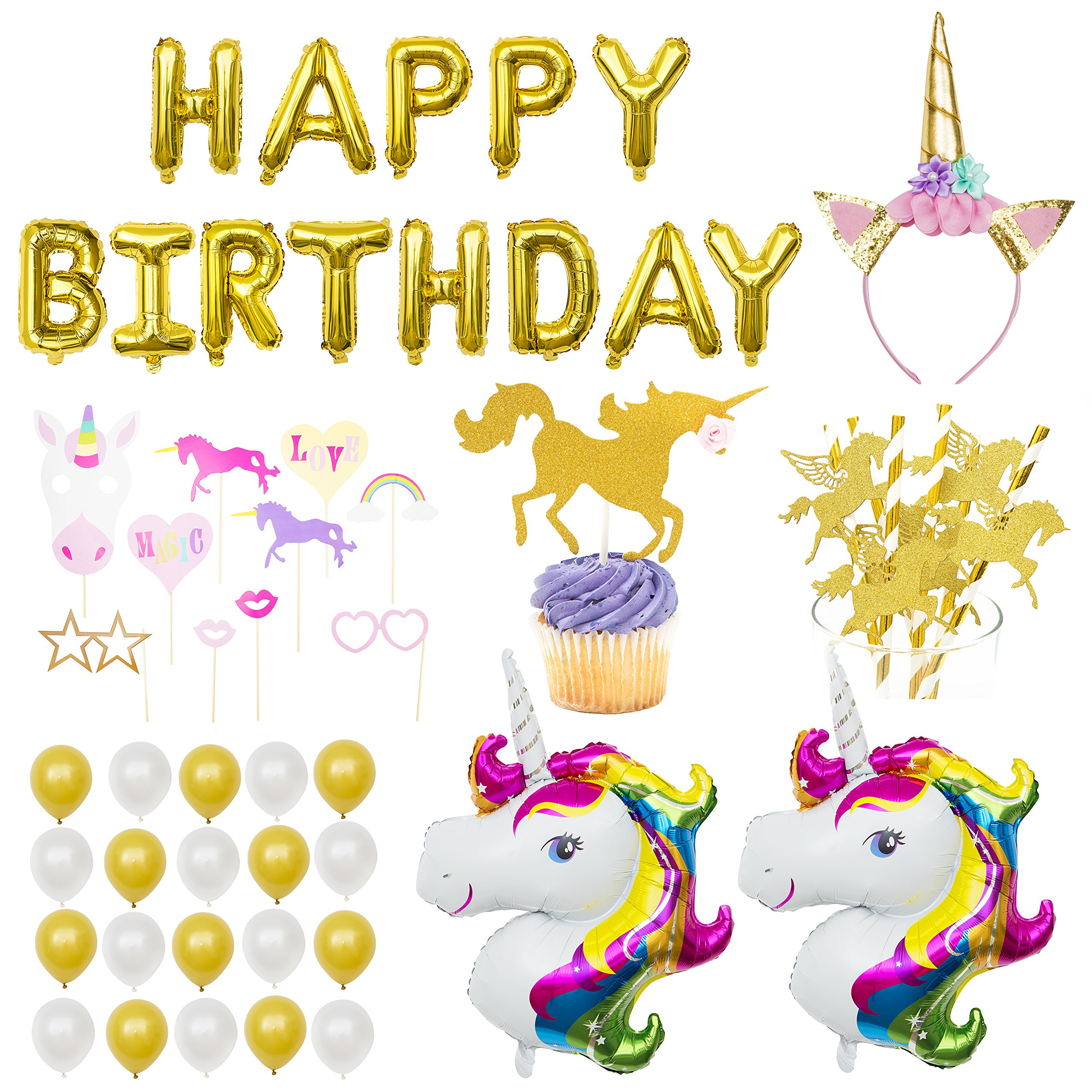 Unicorn Birthday Party Supplies - Unicorn Decorations Including Happy Birthday Banner, Large Unicorn Foil Balloons, Gold Unicorn Headband, Photo Booth Props, Glitter Unicorn Cake Toppers, More