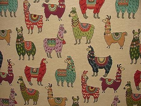 Llama Alpaca Animal Tapestry Designer Fabric Upholstery Curtains Cushions Lama