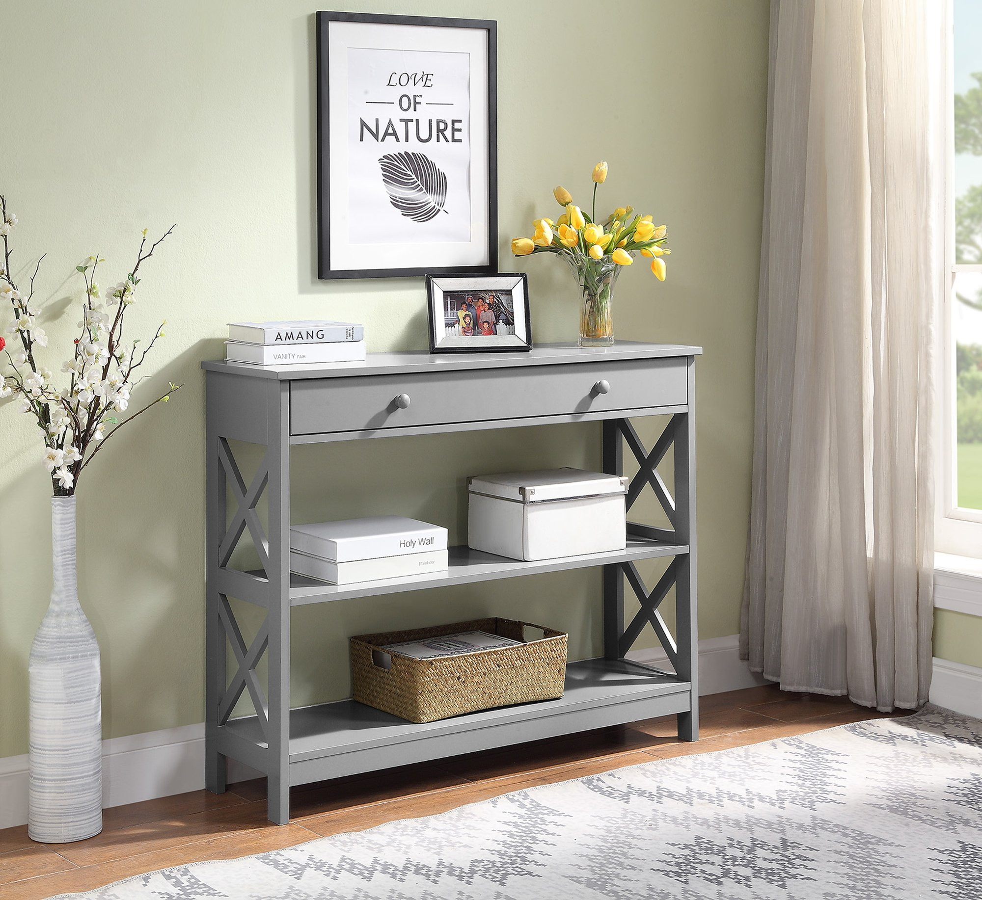 Convenience Concepts 203295GY Oxford Console Table, Gray by Convenience Concepts