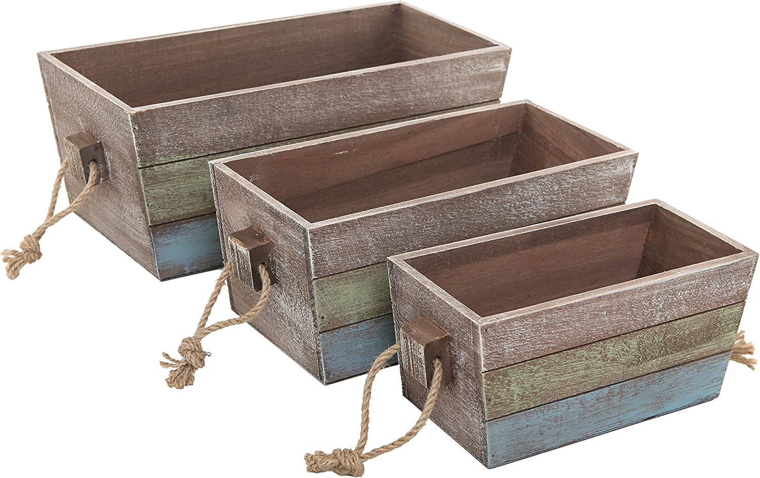 MyGift Nesting Wood Storage Crates, Stripe Design Wood Boxes with Rope Handles, Set of 3, Brown