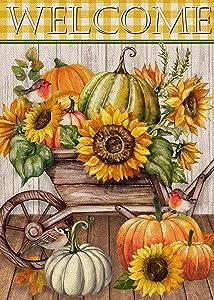 Covido Home Decorative Welcome Fall Garden Flag, Pumpkin Cart House Yard Lawn Decor Autumn Buffalo Plaid Check Sunflower Farmhouse Outside Decorations, Outdoor Small Burlap Flag Double Sided 12x18