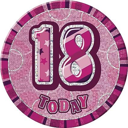 Unique Party- Insignia gigante de 18 cumpleaños, Color rosa ...