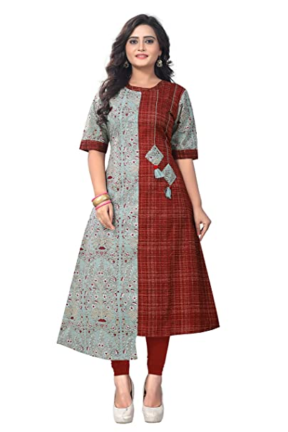 1dd8fe6d115 Crawler Creation s Women s Cotton A-Line Multicolor New Style Low Price  Party Wear Kurtis