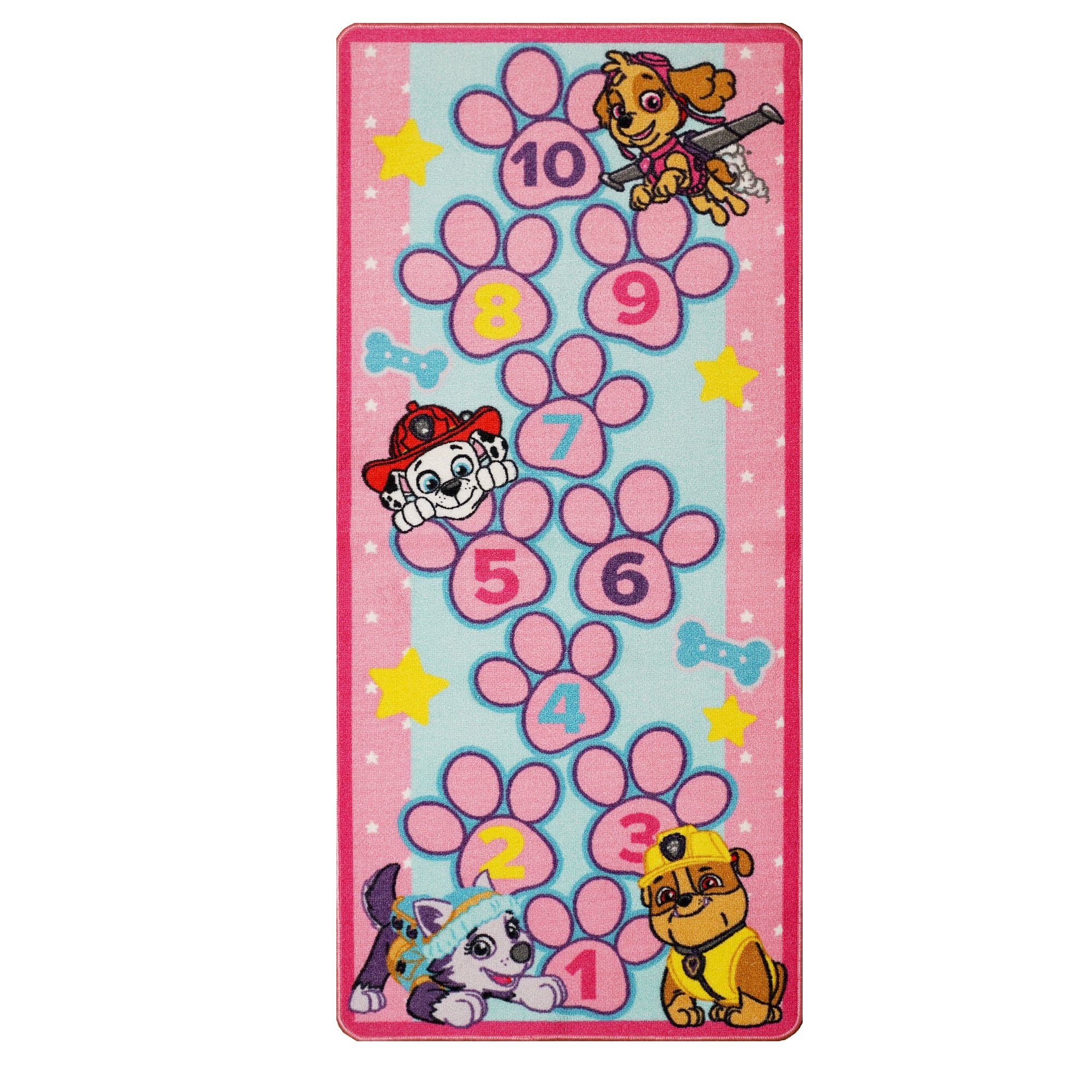 Paw Patrol Toys Rug Hopscotch Mat Skye, Marshall, Rubble, Everest Kids Game Rugs Throw Runner, 26''x58'', Pink by Gertmenian