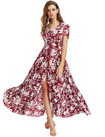 c4821a2841 Milumia Women's Button Up Split Floral Print Flowy Party Maxi Dress X-Large  Red_White