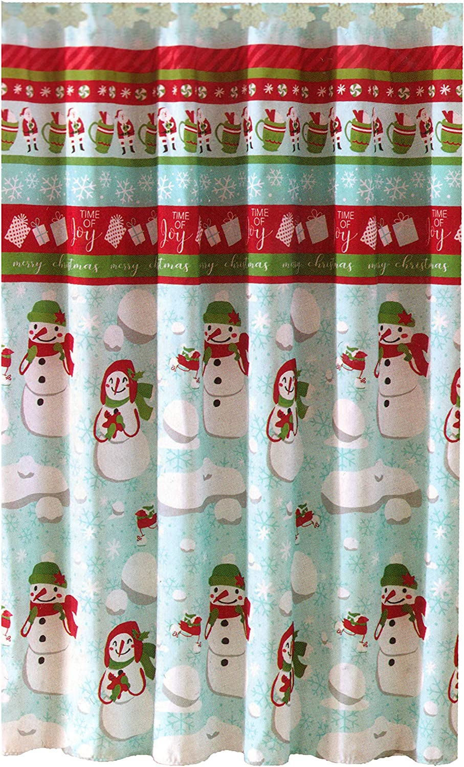 Jolly Holiday Home Snowman Shower Curtain Christmas Pattern with Matching Snowflakes Hooks Set