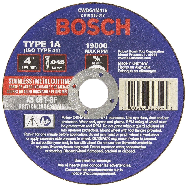 5//8 In Arbor Type 1A 46 Grit Metal Cutting Grinding Wheel Bosch CWDG1M415 4 In x .045 In