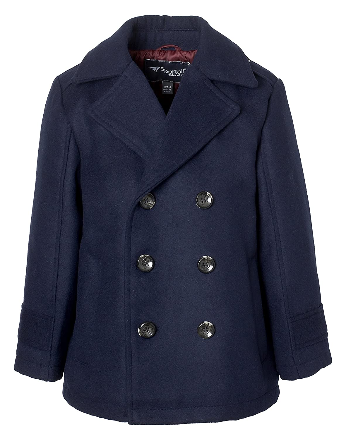 Sportoli Boy Classic Wool Look Lined Winter Vestee Dress Pea Coat Peacoat Jacket