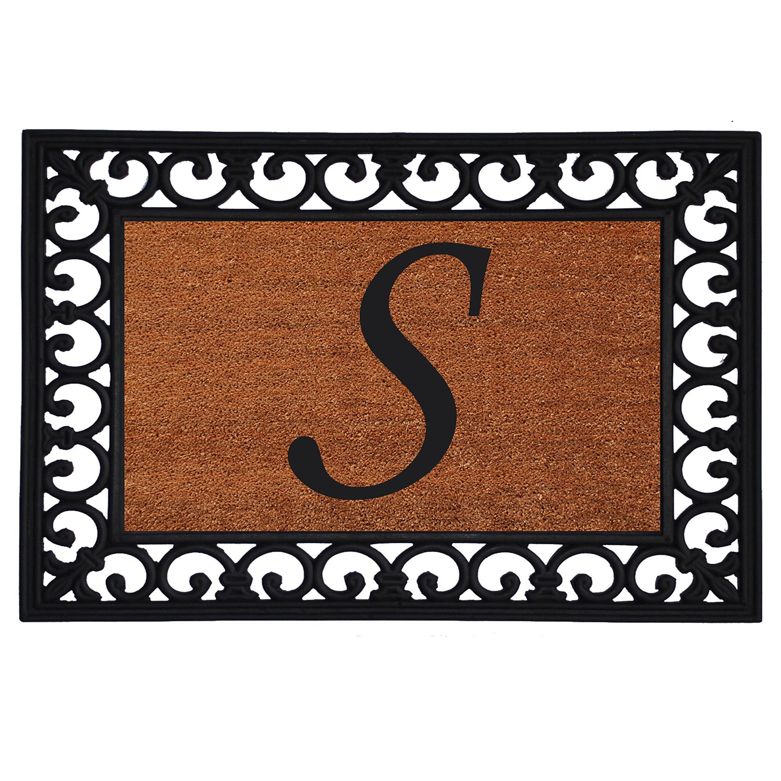 Home & More 180041925S Inserted Doormat, 19'' X 25'' x 0.60'', Monogrammed Letter S, Natural/Black
