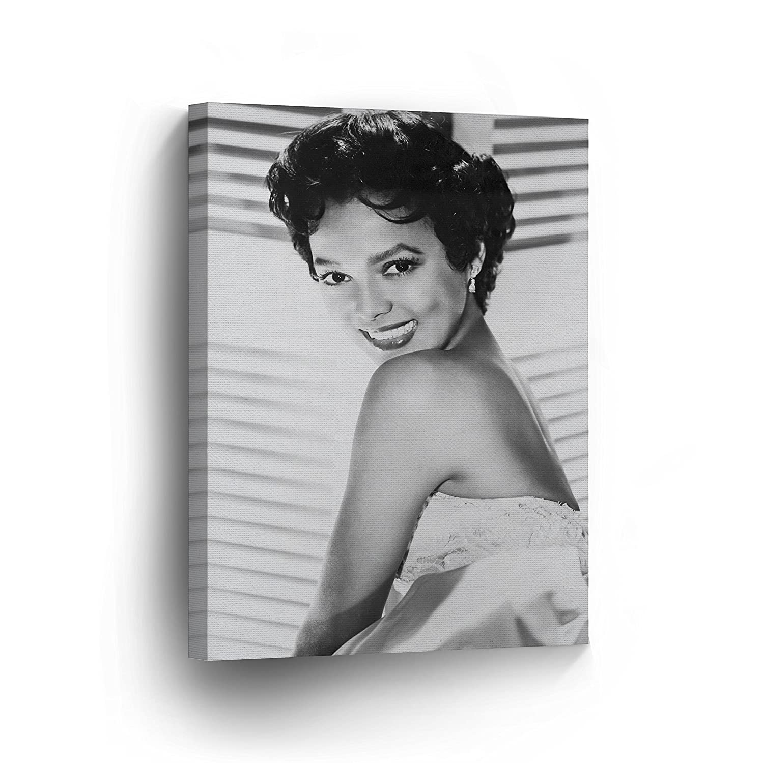 Dorothy dandridge beautiful smile black white wall art canvas print beautiful african american icon artwork home decor wrapped wood stretched ready to