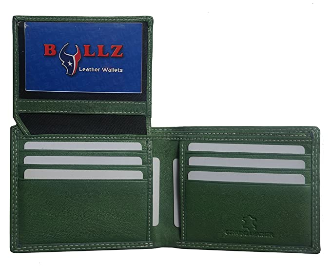 Leather Bifold Credit Crad-ID Billfold Forest Green Mens Wallet at ... aee947842