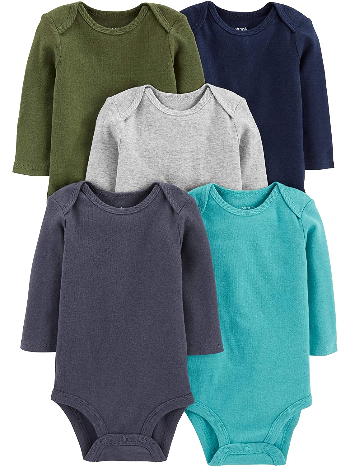 solids Simple Joys by Carters Boys 5-Pack Long-Sleeve Bodysuit 18 Months