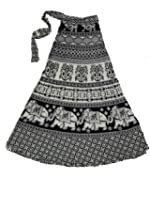Chanchal Fashion Women's Cotton Skirt (Chanchalwrapskrit1002_Black&White_Free Size)