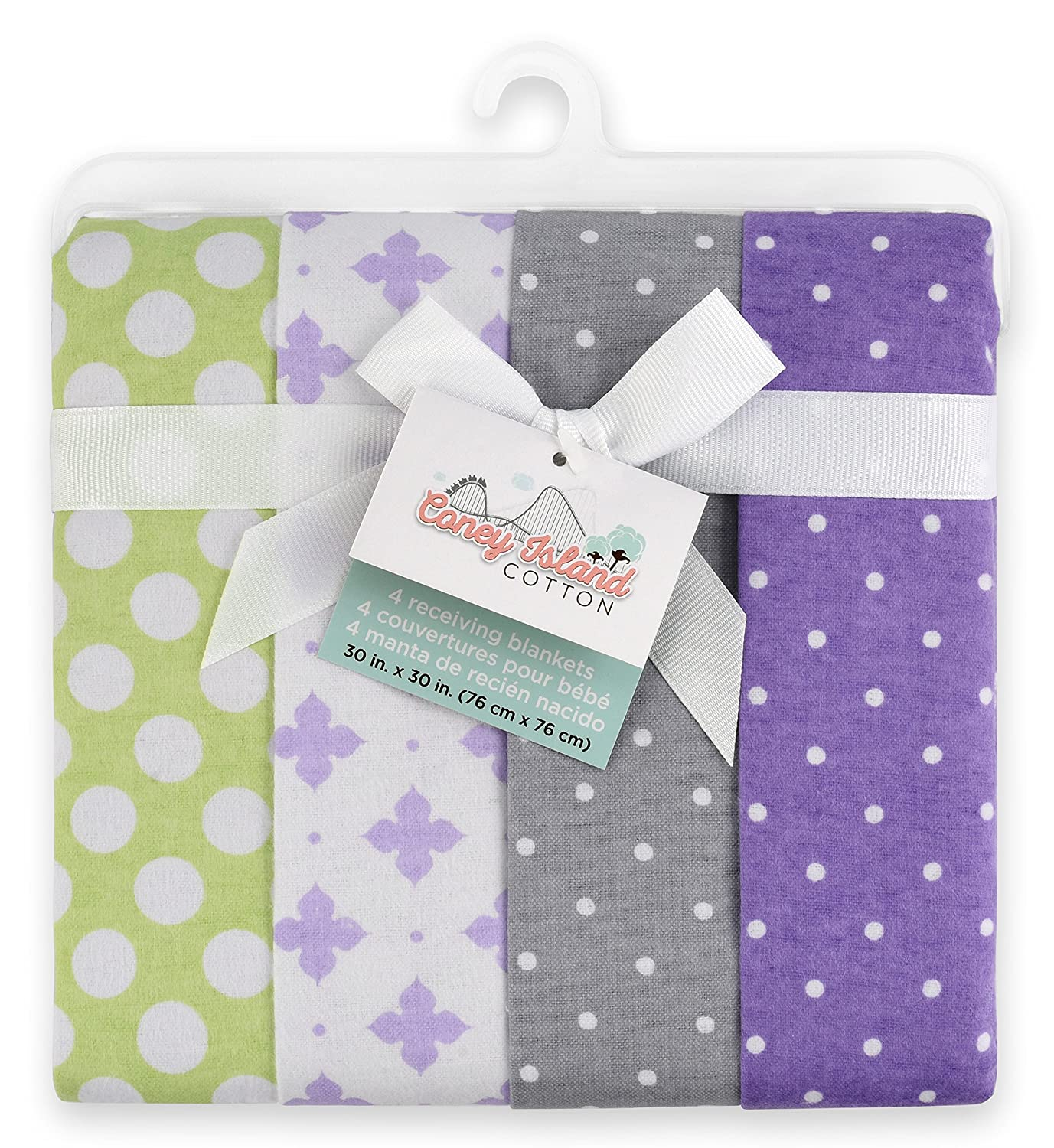 Coney Island Cotton | Flannel Receiving Blankets For Babies | 4 Pack Superior Cotton Burp Cloths |...