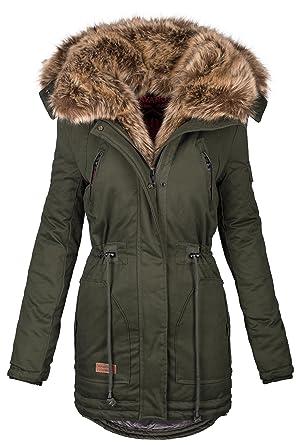 Navahoo B380 Parka para mujer, chaqueta de invierno, abrigo largo, cuello de pelo verde S: Amazon.es: Ropa y accesorios